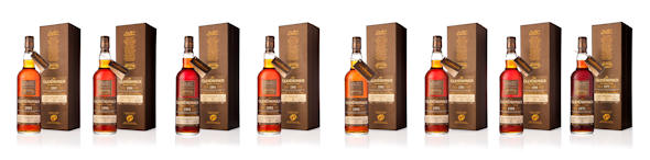 A group photo of all the new releases from GlenDronach Scottish Single Malts