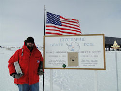 Glendronach's most southerly tasting…in deepest Antarctica! The attached picture shows Thomas Da Cosse at the geographic South Pole with his GlenDronach