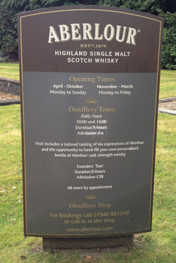 Sign all about the Aberlour Distillery Tours