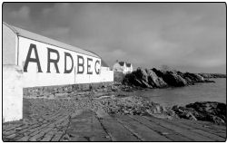A view of the outside of the Ardbeg Whisky Distillery on Islay