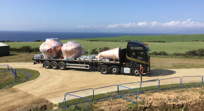 Stills arriving at the Isle of Arran Distillery