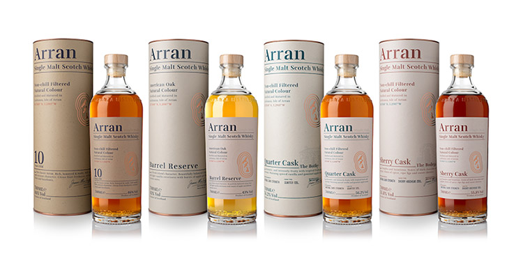 Isle of Arran Distillers unveil fresh redesign of core range of Single Malt Whiskies
