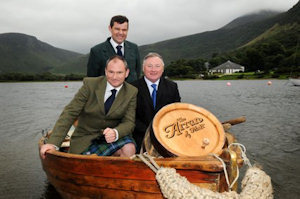 James, Euan and Andy smuggling the first ever cask of Arran 14 year-old up the Clyde from Lochranza to Glasgow in August this year. I think they would struggle in that wee boat at this time of year!