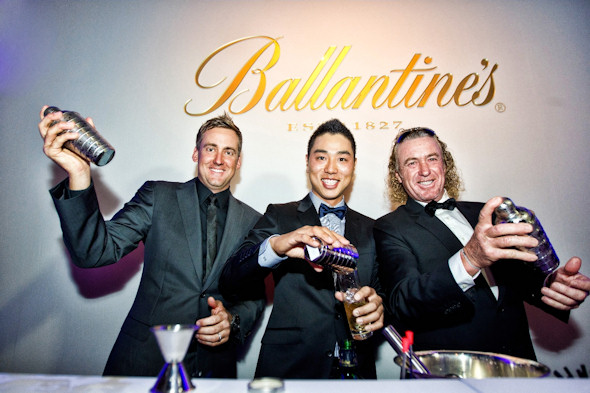 Ian Poulter, Bae Sang-moon and Miguel Angel Jiménez before the Ballentine's Championship