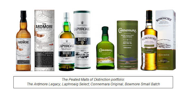 Peated Malts of Distinction features four peated malts including new expression The Ardmore Legacy as the entry point to the range, accompanied by Ireland's Connemara Original, Islay's Laphroaig Select and Bowmore Small Batch
