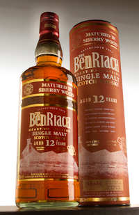 A photo of the bottle of the 12 Year Old Single Malt from BenRiach