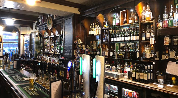 All the whiskies behind the bar at the Bon Accord