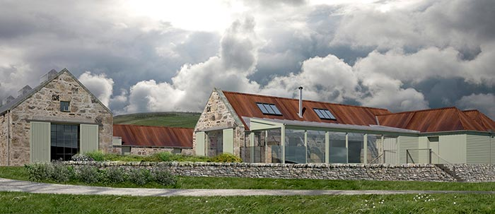 Artists impression of the Cabrach distillery and heritage centre 2017