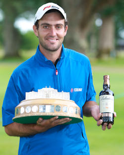 Scottish Open Winner Edoardo Molinari with a bottle of Ballantine's 30 Year Old whisky