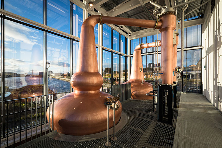 Stills in the Clydeside Distillery in Glasgow