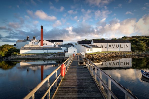 A view over the water to the Lagavulin Scotch Whisky Distillery