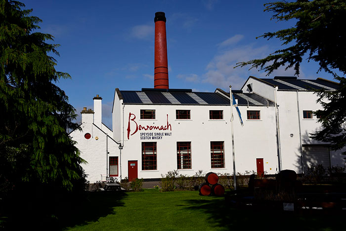 A view of the side at Benromach Distillery in Speyside