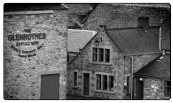 A black and white photo of the Glenrothes Distillery in Speyside. This distillery is now opening its door to the public