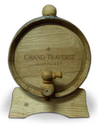 An aging barrel from Grand Traverse Distillery