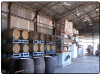 A photo of all the whisky barrels inside Hoochery Whisky Distillery in Kununurra, Western Australia