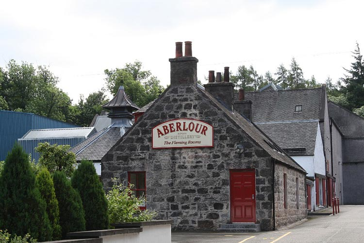 A photo of the Aberlour Scotch Whisky Distillery in Banffshire.