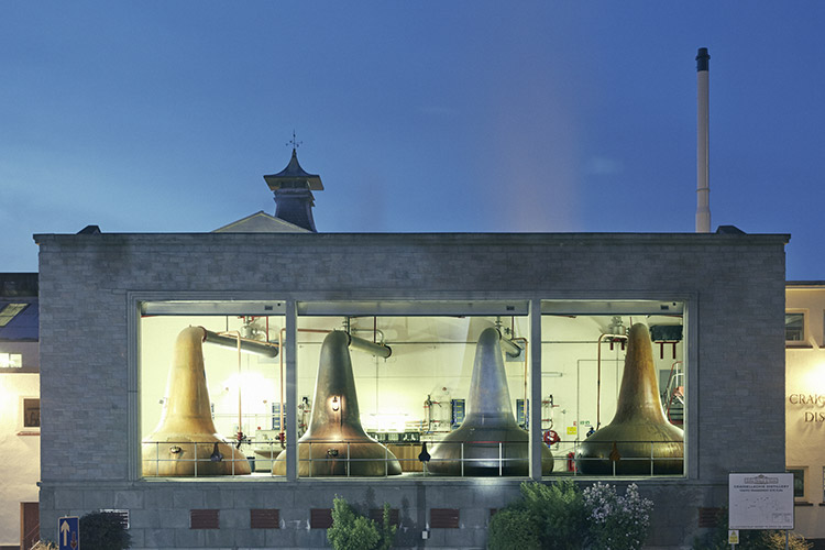 A view of Craigellachie Scotch Whisky Distillery run by John Dewar and Sons