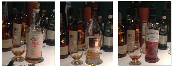 Bowmore 15yo Darkest 43%, Longrow Red 11yo 52.1% and Glenmorangie Extremely Rare 18yo 43%