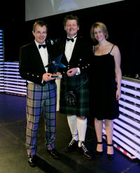 The Famous Grouse picking up their award at the Scottish Marketing Awards