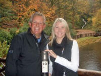 Glengoyne Distillery's Marketing Manager, Sarah Bottomley presents Colin Montgomerie with the personalised commemorative bottle of Glengoyne