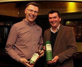 Leo Phelan. President of the Irish Whiskey Society and David Byrne, Category Development Manager Single Pot Still & Prestige Whiskeys Irish Distillers Pernod Ricard