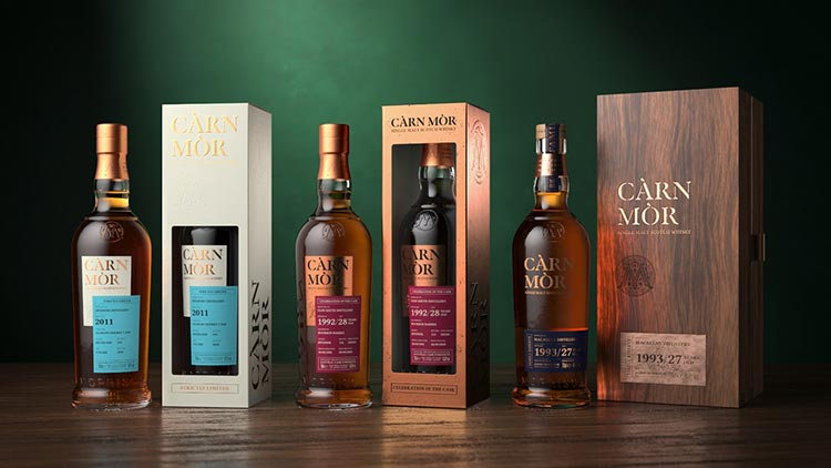 Pictured (from left to right): The Càrn Mòr  range including Strictly Limited, Celebration of the Cask and Family Reserve.