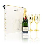 Moet & Chandon Imperial Brut Twin Gold Glass Goblets Set