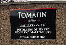 One of the Tomatin Signs that are around the distillery