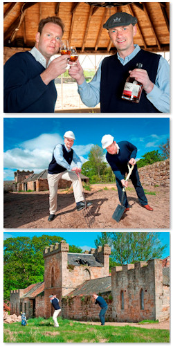 William Wemyss and Doug Clement toast start of build at Kingsbarns Distillery