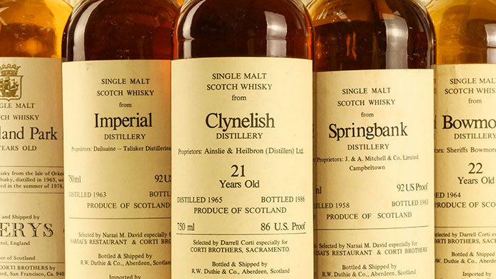 World's Largest Collection Of Rare Corti Whisky Up For Auction held by Perth based Whisky Auctioneer - Close up labels