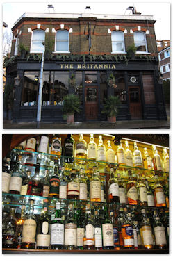 The Britannia in London showing their whisky selection