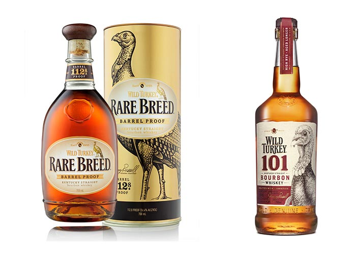 Wild Turkey 101 and Wild Turkey Rare Breed bottles